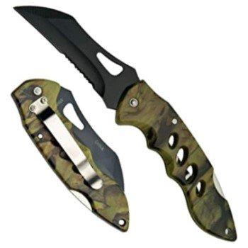 """Forest Hunter 4"""" Folding Knife w/ Pocket Clip & Black Tactical Blade"""