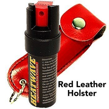 HEATWAVE .5 oz. HOLSTERED KEY-CHAIN PEPPER SPRAY -Red