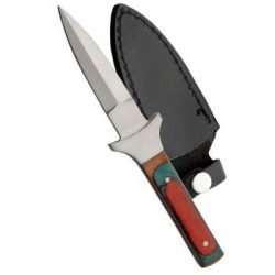 "6.5"" SLIM BOOT KNIFE ~ Multi-Color Wood Handle w/ Sheath"