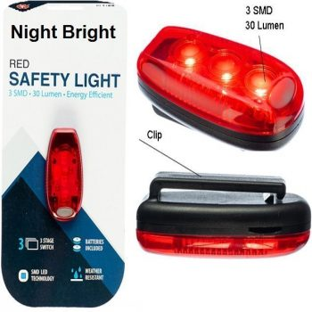 Night Bright Safety Light ~ 3 Settings & 30 Bright Lumens ~Red Bulb w/Clip (Includes Batteries)