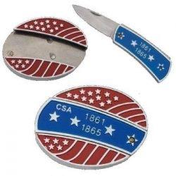 BELT BUCKLE KNIFE ~ CSA Confederate Stars & Stripes 1861 - 1865