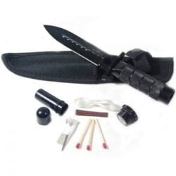 """Hunting / Survival Double Edge Knife - 8"""" ~ Stainless Steel ~ w/ Kit & Pouch ~ Black"""