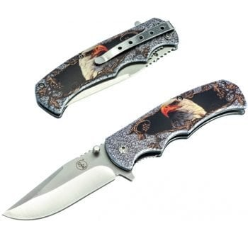 Spring Assist Knife ~ 3mm Thick Blade ~ Bald Eagle Design - Both Sides