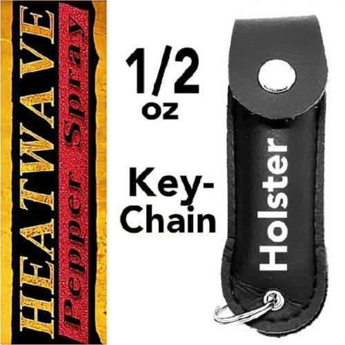 HEATWAVE ~ 1/2 oz 23% OC PEPPER SPRAY ~ LEATHER HOLSTER w/ KEY-CHAIN