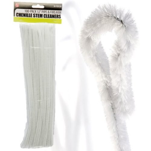 """100 Pack ~ 12""""x 1/4"""" (6 mm) Chenille Stem Pipe & Firearm Cleaners ~ White"""