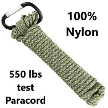 UST ~ 550 lb test 100% Nylon Paracord - 30' - Green & Silver Camo