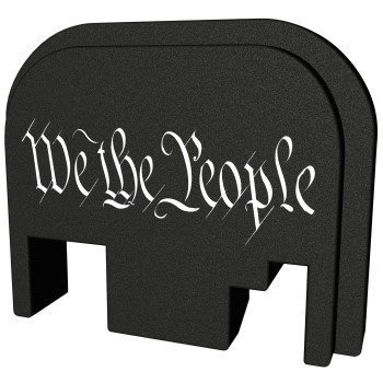 Bastion, Slide Back Plate, We The People, Black and White, Fits All Glock Except 42 & 43