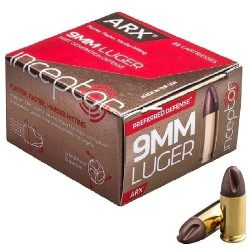 INCEPTOR 9mm ARX Copper/Polymer 95 Grain - 1650 fps / 393 ft-lbs