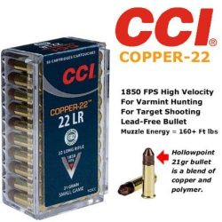 CCI Copper-22 LR - 21 Grain Copper/Polymer 1850 FPS - 160+ ft lbs